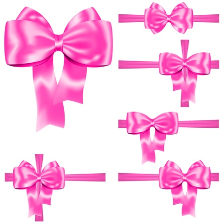 pink satin: Pink ribbon and bow set for decorating gifts and cards on white  illustration Illustration