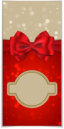 traditional events: Invitation card for holidays and weddings with blank space  Greeting card with bokeh background and red gift bow  illustration