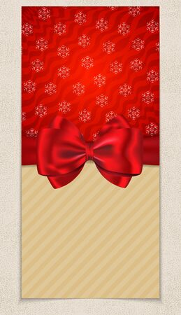 Winter holidays card with blank space for greetings and with bow and ribbon on snowflake background. Vector illustration Vector