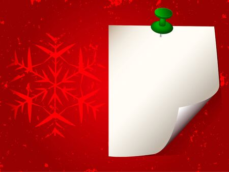 White sticky note paper attached with green pin on red grunge background with snowflake. Vector Illustration Stock Vector - 16897435