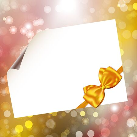 Paper with yellow ribbon and bow on bokeh lights abstract background. Vector illustration Vector