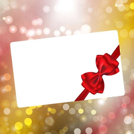 Paper with red ribbon and bow on bokeh lights abstract background. Vector illustration Stock Vector - 16897437