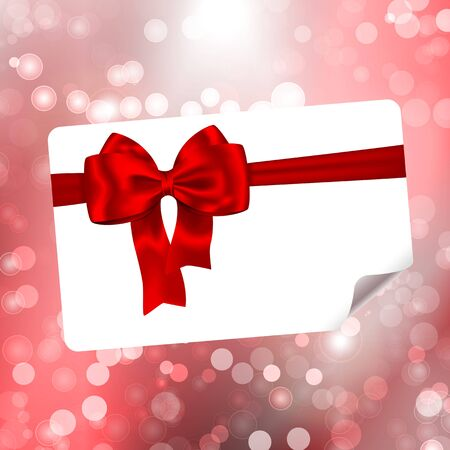 Paper with red ribbon and bow on bokeh lights abstract background. Vector illustration Stock Vector - 16897438