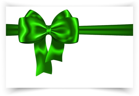 Green ribbon and bow for festive decorations. Gift card Vector
