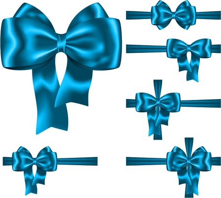 Blue ribbon and bow set for decorating gifts and cards on white.