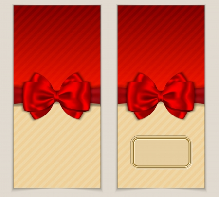 Solid card with blank space for invitation and greeting words with red bow and ribbon.  illustration Stock Vector - 16980956