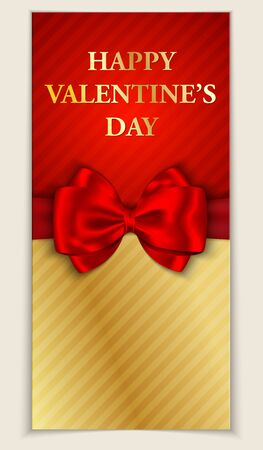 Valentine s day greeting card with blank space and red bow  illustration Vector