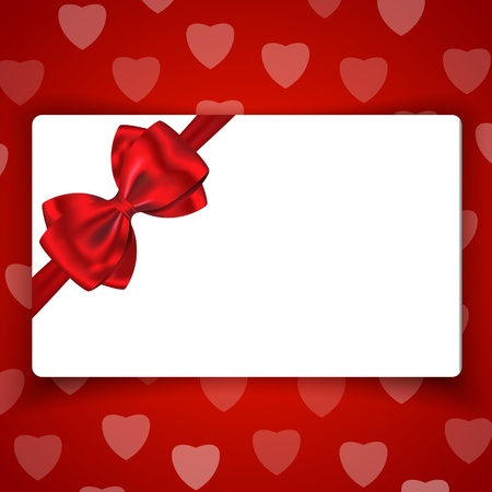 Love gift card with space for greetings and with red bow and ribbon on background with hearts. Stock Vector - 17278520