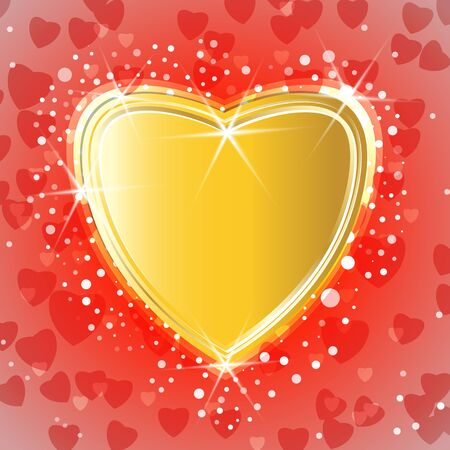 Golden shiny heart on red hearts background. Vector