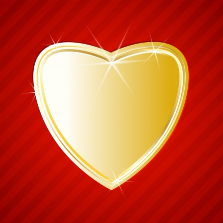 Golden shiny heart on red background. Vector