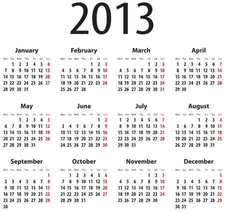 Calendar for 2013  Mondays first Stock Vector - 17278545