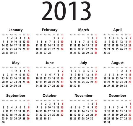 january 1st: Calendar for 2013  Mondays first Illustration