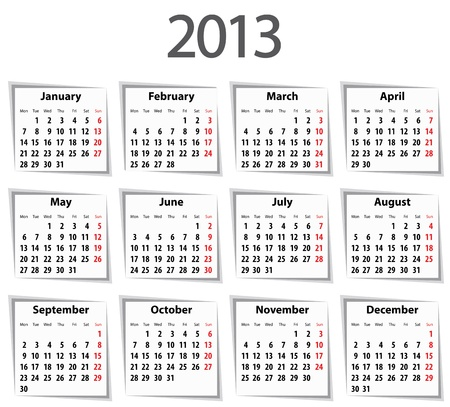 Solid Calendar for 2013 with shadows. Mondays first. Vector illustration Vector