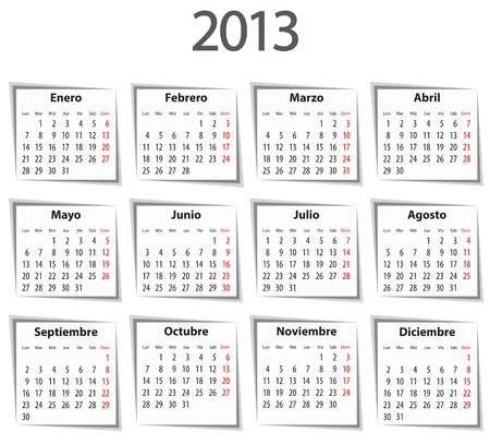 mondays: Spanish Calendar for 2013 with shadows. Mondays first. Vector illustration Illustration