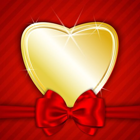 Golden shiny heart tied with red bow on red background background Stock Vector - 17438354