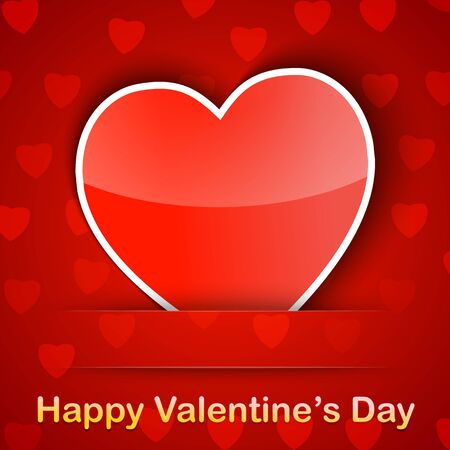 Valentine card with a heart placed on red background illustration Stock Vector - 17438344