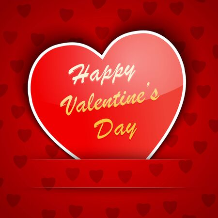 Valentine card with a heart placed on red background illustration Stock Vector - 17438364