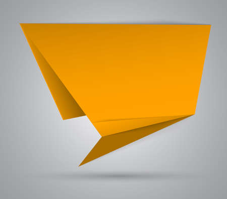 Yellow origami abstract speech bubble.  illustration Vector