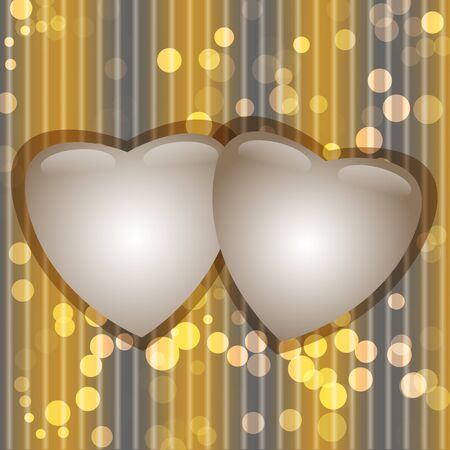 2 glossy hearts on abstract background with bokeh lights.  illustration Vector