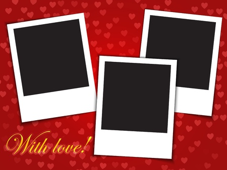 With love! words and three blank photo frames on red background.  illustration Vector