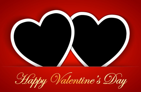 Valentines card template with heart shape blank photo frames on the red background.  illustration Vector