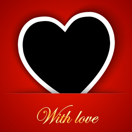 Love card template with blank photo frame on the red background.  illustration Vector