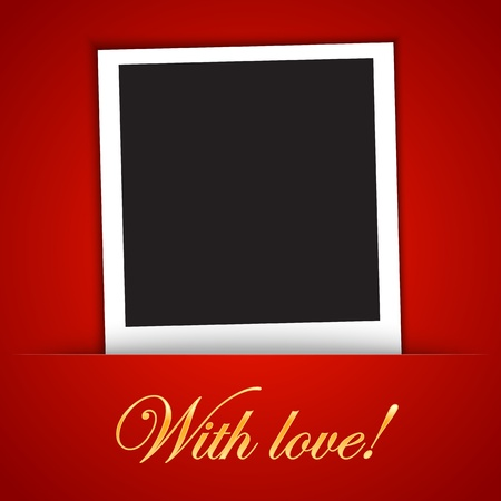 Love card template with blank photo frame on the red background.  illustration Stock Vector - 17542408