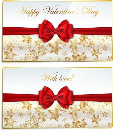 congratulating: Two luxury greeting cards congratulating Valentines holidays.  illustration