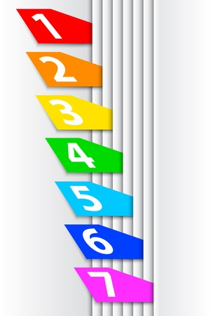 rainbow stripe: Abstract numbered colorful labels between pages. Vector illustration