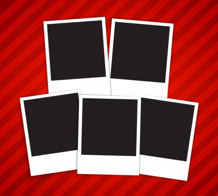 Blank picture frames on red background  Vector