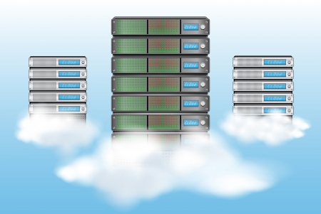 databank: Cloud computing concept met servers in de wolken Stock Illustratie