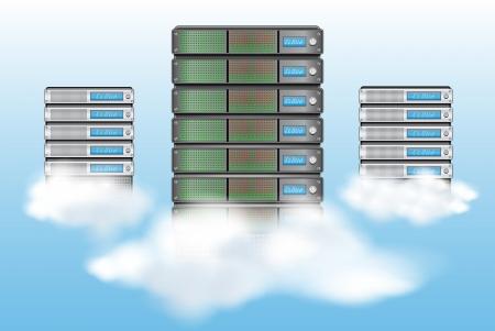 server: Concetto di cloud computing con i server tra le nuvole