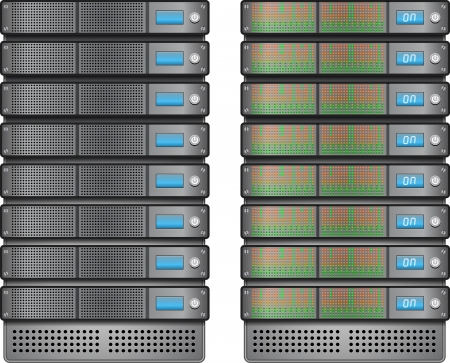 Servers in installed in rack Stock Vector - 17855073