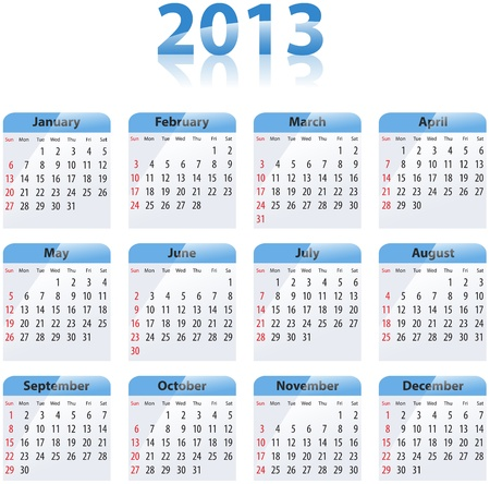 Blue glossy calendar for 2013. Sundays first Stock Vector - 17855096