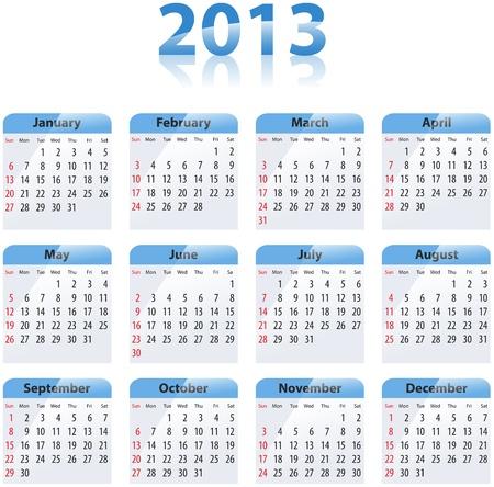 Blue glossy calendar for 2013. Sundays first Stock Vector - 17855096