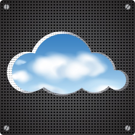 Cloud shape cut out from perforated metal wall with a view of the clouds in the sky Vector