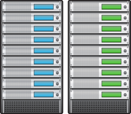 Servers in installed in rack Vector