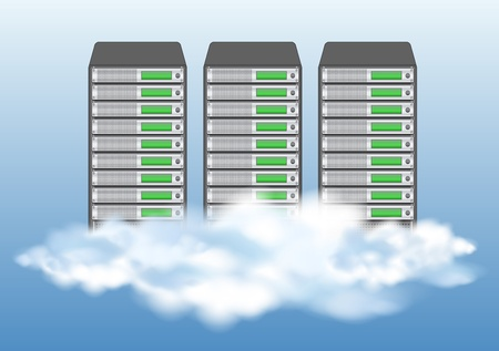 computer server: Cloud computing concept with servers in the clouds