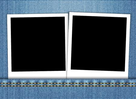 worldwide wish: Blank photo frame in blue jeans pocket. Vector illustration