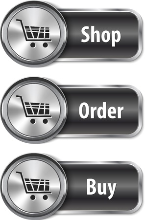 Metallic and glossy web elements/buttons for online shopping. Vector illustration Stock Vector - 17988467