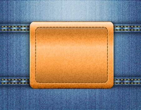 jeans texture: Brown leather label on blue jeans background.