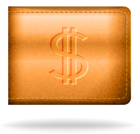 Brown leather pouh with dollar sign Stock Vector - 18140280