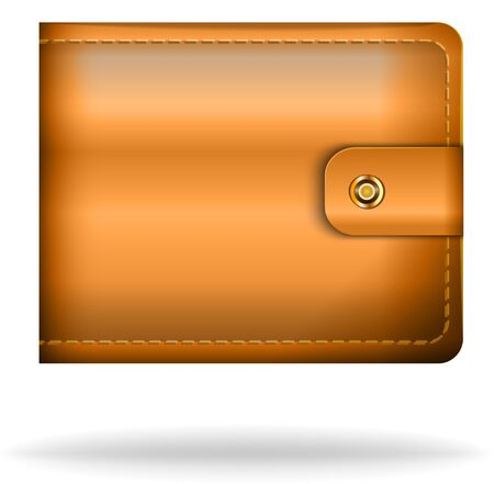 Brown leather money bag. Stock Vector - 18140278