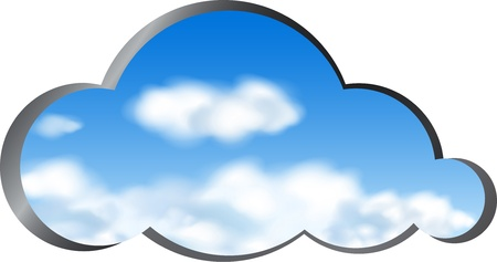 somewhere: Cloud shape cut out from metal with a view of the clouds in the sky. Vector illustration Illustration