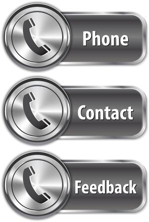 Metallic phone sign on shiny web element. Vector illustration Stock Vector - 18199569