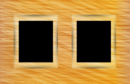 Two photo frames on abstract wooden background  Vector illustration Vector