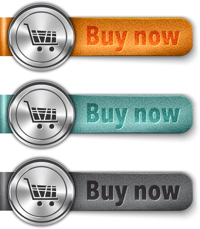 Buy now metallic web element with colored leather straps. Vector