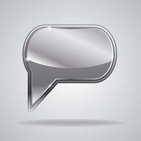 Metallic speech bubble. Vector