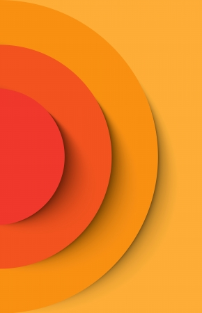 banner effect: Orange abstract circles with drop shadow background. Vector illustration