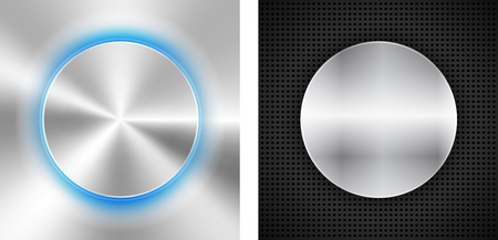 2 Abstract backgrounds with circle metallic inset. illustration Stock Vector - 18514232